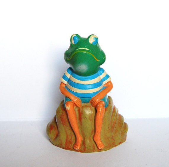 Vintage piggy bank from Germany - frog wearing nautical shirt