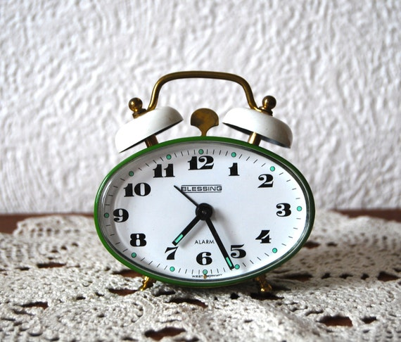 Grass green little alarm clock made in West Germany Blessing