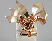 RESERVED                    Vintage 1940 Walter Lampl GF over Sterling Lillies in Ribbon Brooch