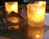 White Lace Glass Candleholders - set of 3