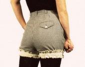 High Waisted Shorts with Tuxedo Trim - Size Medium