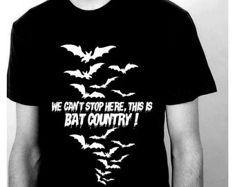 Fear and Loathing Black TShirt for Men - This is Bat Country Size S - 5XL