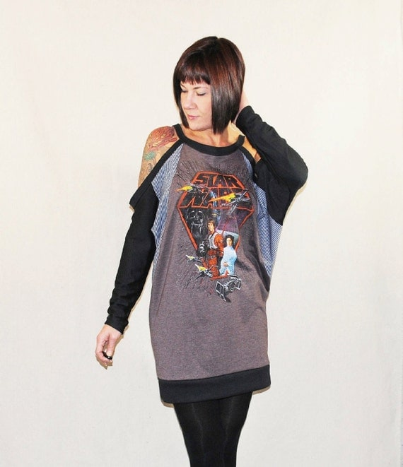 Star Wars Dolman Sleeve Dress - Reconstructed Upcycled Brown T-Shirt  - Made to Order