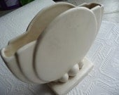 Vintage ART DECO Vase - Interesting  Design - Off White in a Matte Finish - Home Decor - Flowers