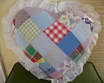vintage patchwork pillow ,Heart patchwork, Vintage pillow, lace edging, shabby and chic,vintage home decor,bedroom,unique,colorful patchwork