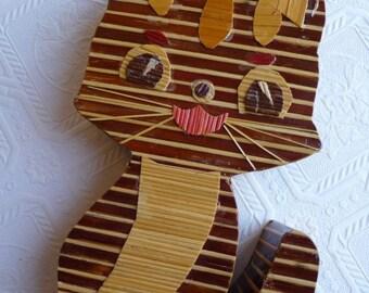 SALE vintage cat candle holder, unique cat, vintage home decor, wooden cat, animal, cat lover, retro art, conversation piece, handmade