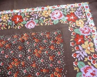 SALE vintage fabric panels, vintage brown fabric, print fabric, vintage supplies, cotton, flower fabric, pillow panels,sewing supplies,retro
