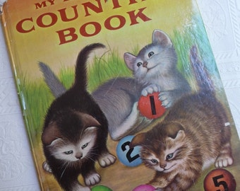 My Big Golden Counting Book, Lilian Moore, vintage Childrens book, colorful pictures, Garth Williams, large book, scrapbooking,childrens art