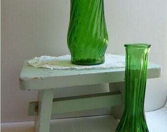 vintage green vases, vintage flower vases, set of two, vintage home decor, green glass, art, unique vases, vase collection, textured vases