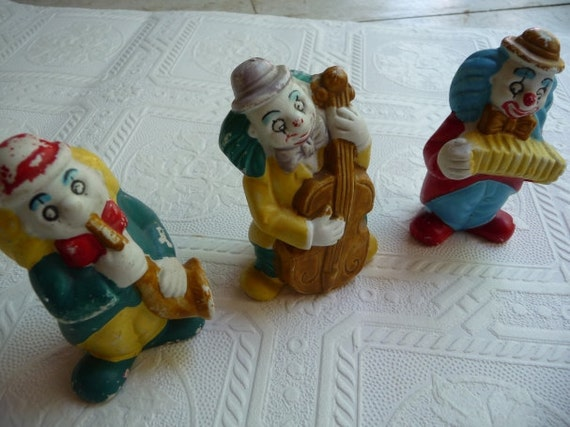 SALE vintage clowns, ceramic clowns, three clown set, vintage collectibles, music instruments, unique, home decor, fun decor,Nursery decor
