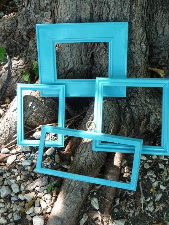 Frames Picture Frames Handpainted Aqua Frames Slightly Distressed Set of 4 Frames Art Home Decor Mostly Vintage Shiny Finish Home Decor