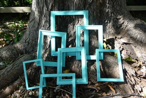 Frames Aqua Frames Handpainted Frames Home Decor Multi Size Shabby and Chic Plastic Frames Beach Cottage Unique Art Paint