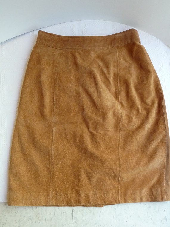 Vintage Leather Skirt Brown Skirt Global Identity Size 5/6 Vintage Clothing Soft Leather Zipper Closure High Waisted Leather Skirt