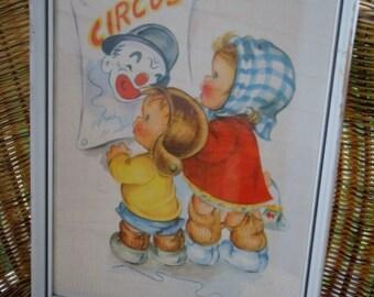 Circus In Town Vintage Print