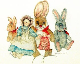Bunnies And Dolls Print...SHIPPING INCLUDED