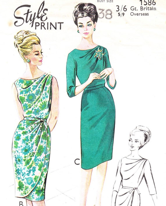 Draped Gown Pattern: Vintage Draped 1960 Dress Pattern Style 1586