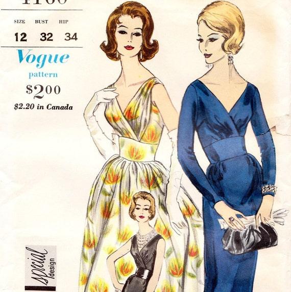 Vintage 1950s cocktail dress sewing pattern - Vogue Special Design 4160 - Bust 32