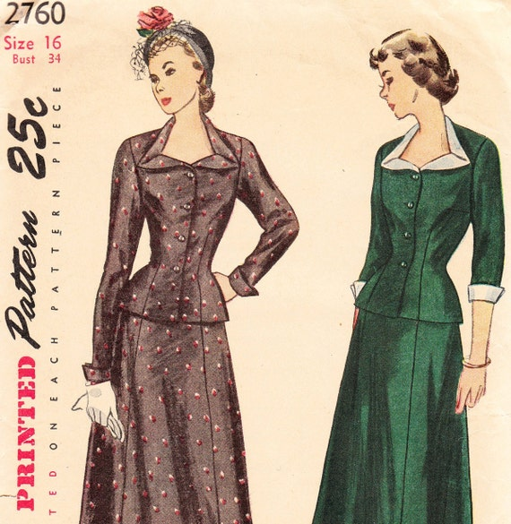 Vintage 40s skirt and jacket sewing pattern - Simplicity 2760 - Bust 34
