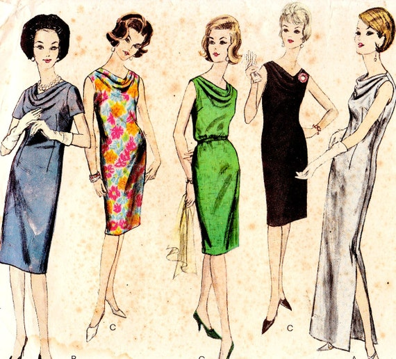 Vintage 1960s cowl neck dress sewing pattern - Vogue 5727 - Bust 36