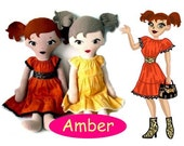 Lil Miss AMBER Doll and Dress PDF Sewing Pattern - Cloth Fashion Doll for Girls (ages 5 & up)