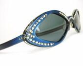 Vintage Sapphire Blue Rhinestone Cat Eye Sunglasses Frame France 1950s 1960s