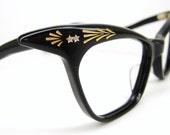 RESERVED Vintage 50s Black Winged Cat Eye Eyeglasses Frame France NOS