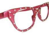 Vintage 50s Hot Pink Cat Eye Eyeglasses Sunglasses Frame
