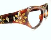 Vintage 1950s Cat eye Glasses Eyeglasses Frame NOS Tortoise Wrap
