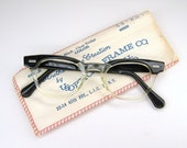 Vintage 50s Mens Black Clear Horn Rim Cat Eye Eyeglasses Frame
