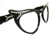 Vintage 50s Black Cat Eye Eyeglasses or Sunglasses Frame France