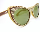 Vintage 50s Cat Eye Sunglasses Checkered Very Unique Never Worn Calobar