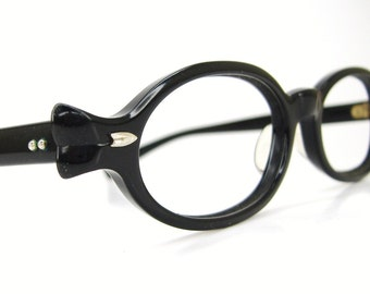 Vintage Women Black 50s Oval Cat Eye Eyeglasses Frame BL