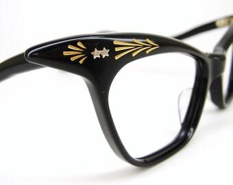 Vintage 50s Black Winged Cat Eye Eyeglasses Frame France NOS