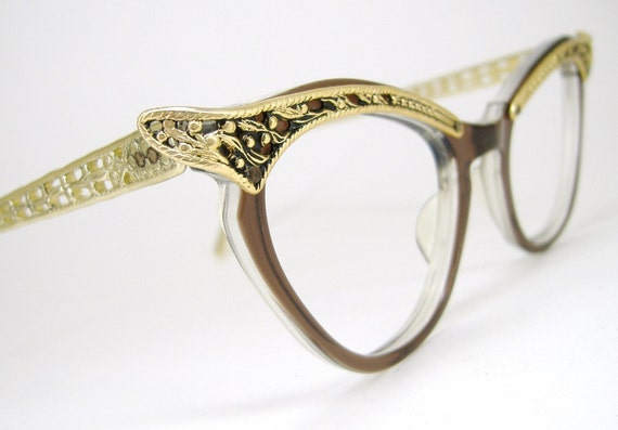 All Gold Glasses Frames : Vintage Eyeglasses Sexy Gold Winged Cat Eye Design 1950s 1960s