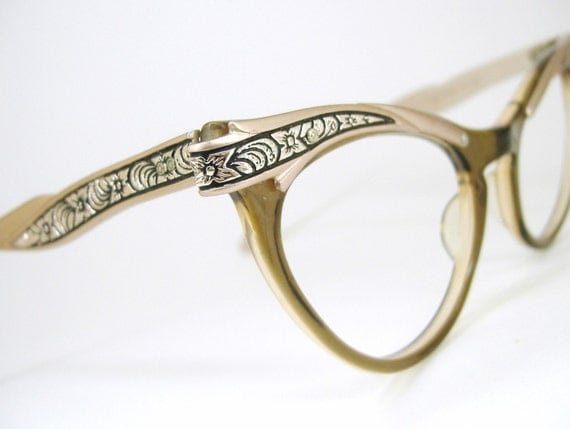 Vintage 50s Flower Cat eye Eyeglasses Frame
