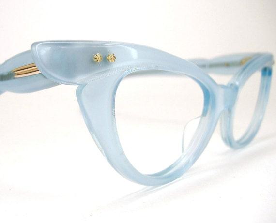 Vintage 50s Blue Cat Eye Eyeglasses or Sunglasses Winged France