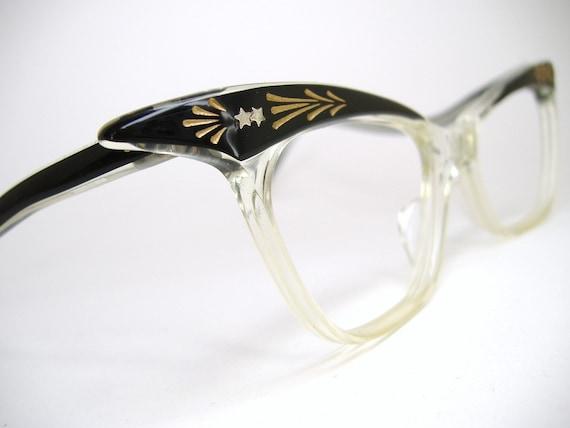 Vintage Womens 50s Winged Cat Eye Eyeglasses Frame NOS