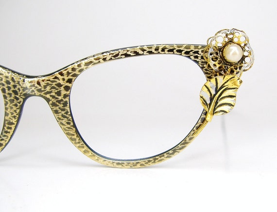 Vintage Tura Cat Eye Eyeglasses Frame with Gold Rose NOS