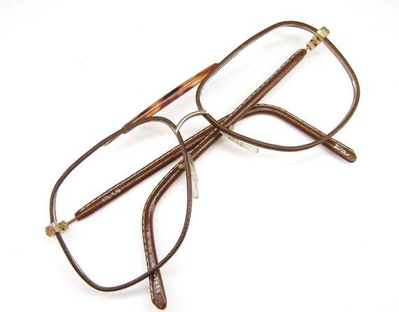 Vintage Leather sunglasses or Eyeglasses Aviator Frame NOS Rare Tura Eyewear