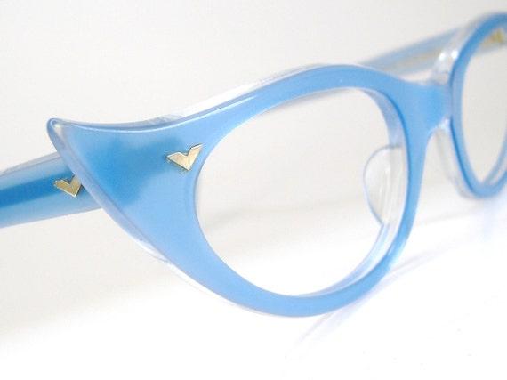 Vintage Blue Cat eye Eyeglasses Sunglasses Eyewear Frame France NOS