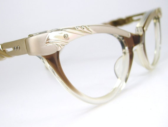 Vintage 50s Cat Eye Eyeglasses Combination Frame Never Worn Fades
