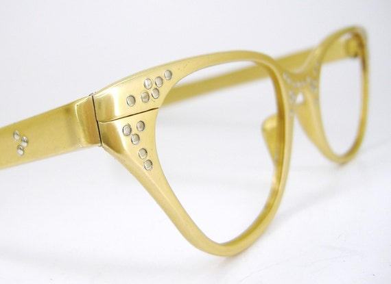 Vintage Yellow Cat Eye Eyeglasses Frame with Silver Studs Tura NOS
