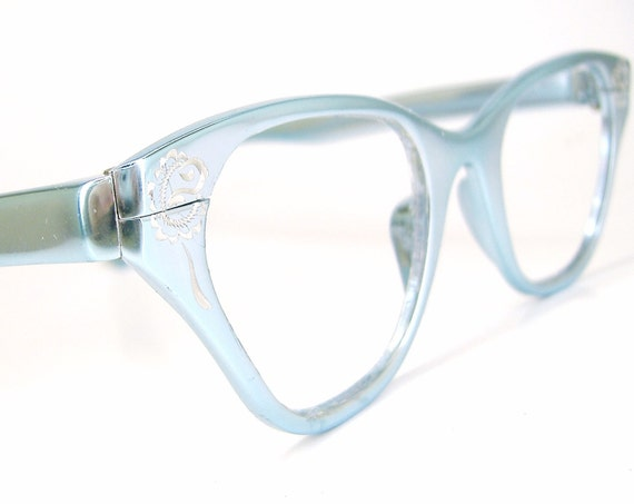 Vintage 50s Blue Cat eye Eyeglasses Frame Tura With Rose Accents