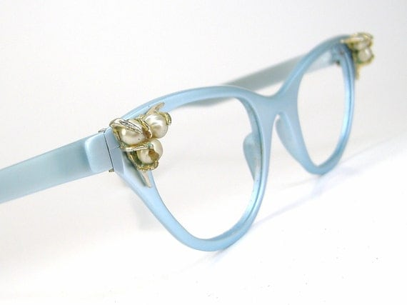 Vintage 50s Blue Cat eye Eyeglasses Frame Tura With Pearl Accents