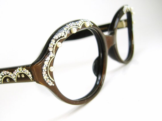 Vintage 1960s Satiny Brown Oval Cateye Eyeglasses Frame With Pearls And Rhinestones NOS Eyewear