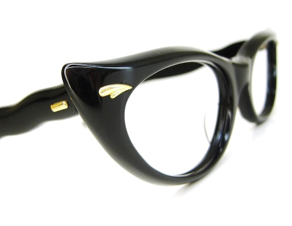 Vintage Eyewear 50s Cat Eye Eyeglasses Frame with Gold Accents