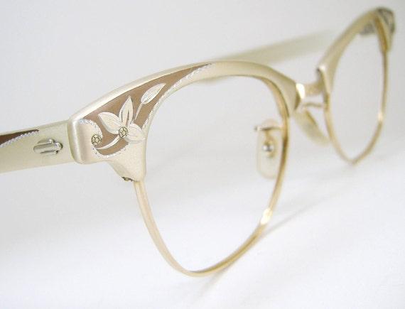 Vintage Art Craft Cat Eye Eyeglasses Frame With Flower Etching