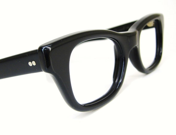 Thick Frame Glasses Black : RESERVED Vintage 50s Thick Black Nerd Glasses Eyeglasses Frame
