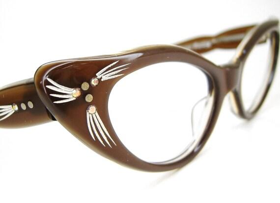Vintage 50s Cat Eye Glasses Sunglasses Eyewear Frame France NOS