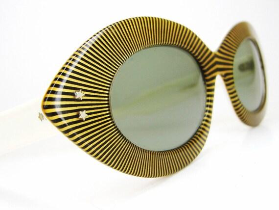 Vintage 50s 60s Striped Cat eye Sunglasses Frame